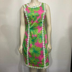 Lilly Pulitzer 4 Pink Green Floral Shift Dress